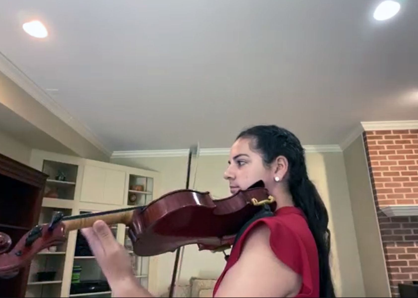 Girl in Red Playing Violin
